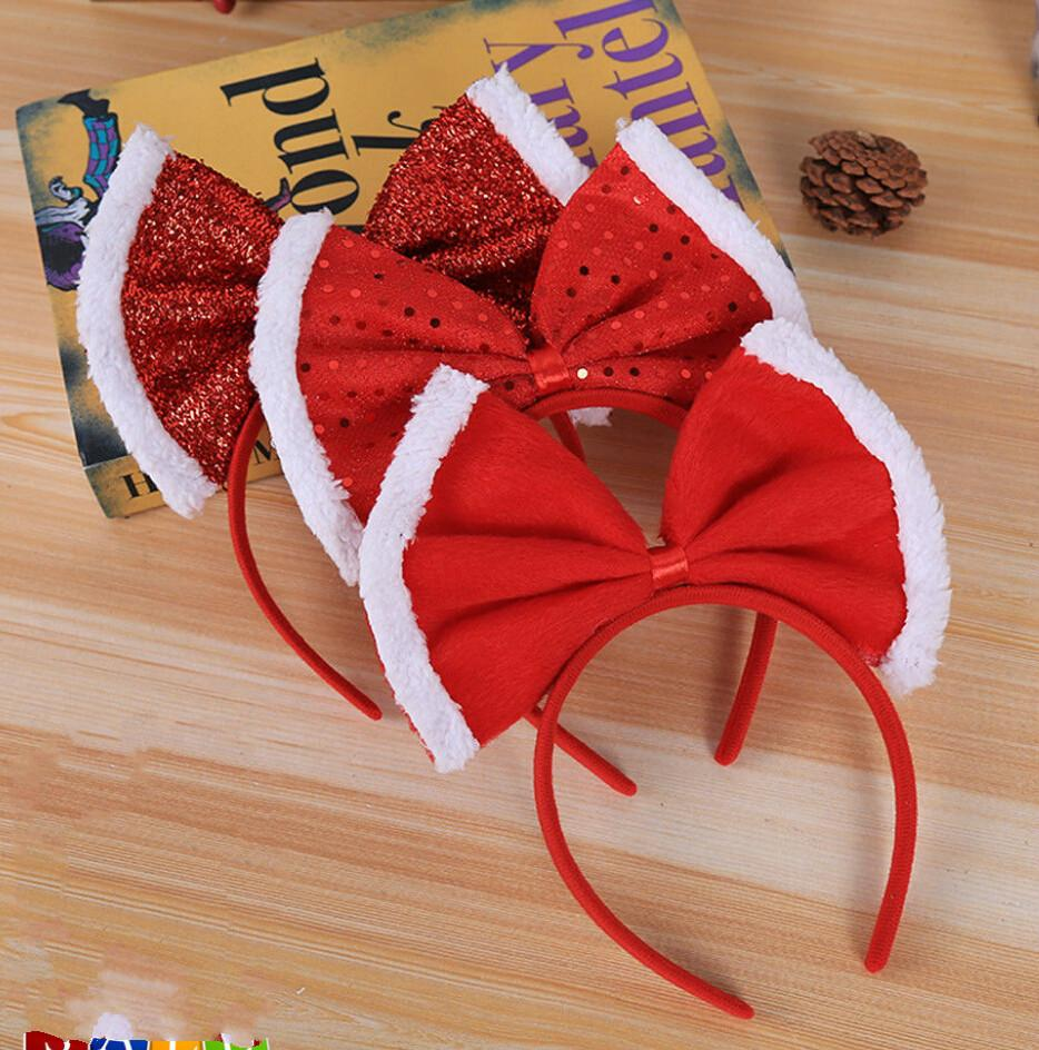 a1b10ee0d835e Brand New Christmas Bow Headband Hat Fancy Dress Hat Reindeer Antlers Santa  Xmas Kids Adult Hair Accessories Decorations Decorations Christmas From ...