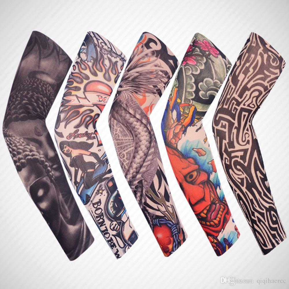 Fashion 3D Tattoo Printed Arm Warmers Unisex Outdoor Cycling Sleeves Arms UV Protection Sleeves Holder Cartoon Arm Cover