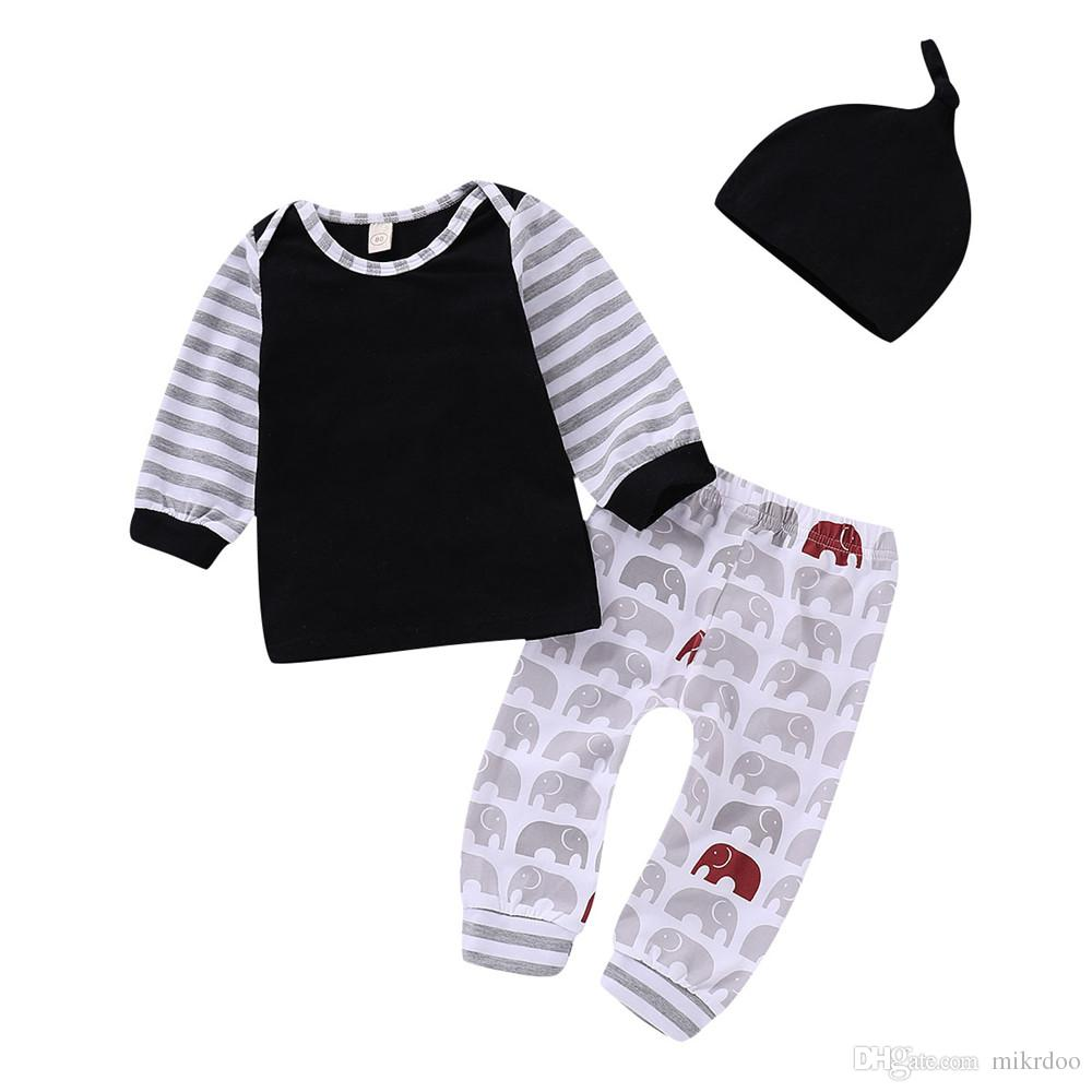 30d7996b2 2019 Mikrdoo Newborn Toddler Baby Boy Girl Clothes Set Striped Print ...