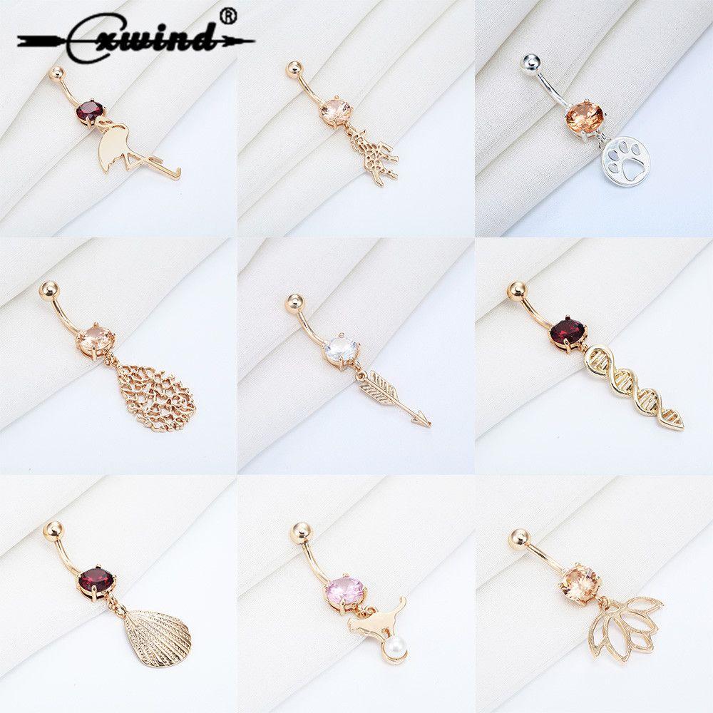 Cxwind Gold Silver Navel Piercing Dog Unicorn Arrow Seashell Dangle Belly Button Ring For Women Helix Body Piercing Jewelry