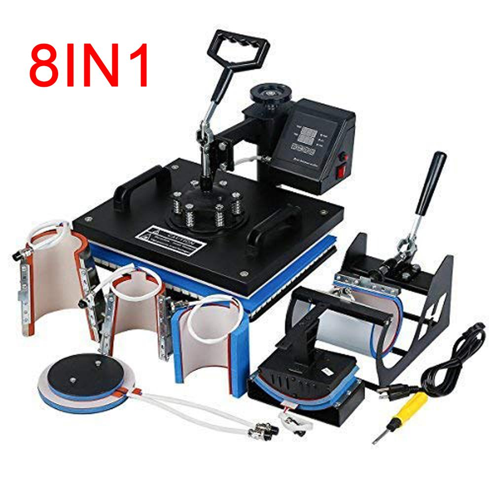 060372e11fdbd Promotion Doubl Display 30 38CM 8 In 1 Combo Heat Press Sublimation Printer  Heat Transfer Machine For Cap Mug Plate Tshirts Small Printer Small Printers  ...