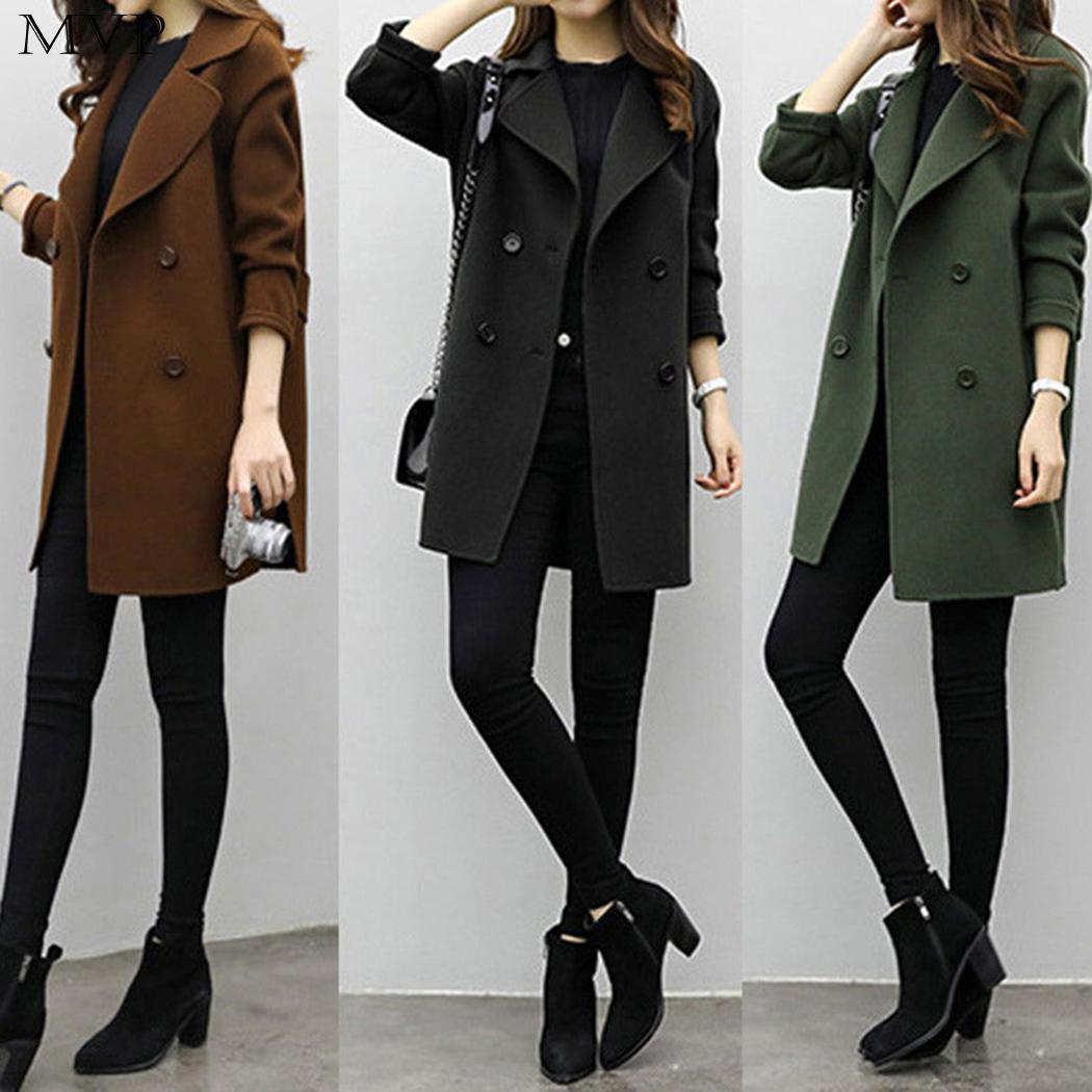 46f4d5aba584 Women Casual Notched Collar Long Sleeve Solid Button Outwear Autumn, Winter  Coat Side Split, Back Strap Wool & Blends Cheap Wool & Blends Women Casual  ...