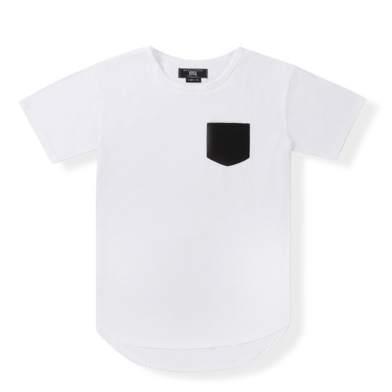a86cc82d0b8 Mens Casual Plain Basic Extended Long T Shirt Short Sleeve Pocket Tee White  Top Tee Summer Fashion T Shirt Funny T Shirt Prints Funky T Shirt Designs  From ...