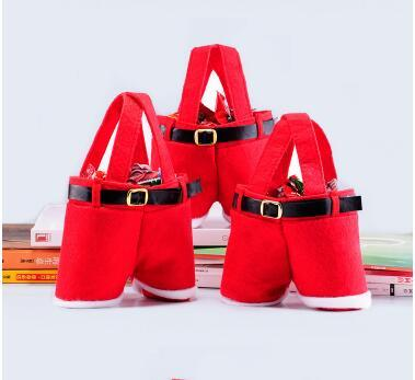 10 pcs Christmas product red christmas party candy bag gift bag pants
