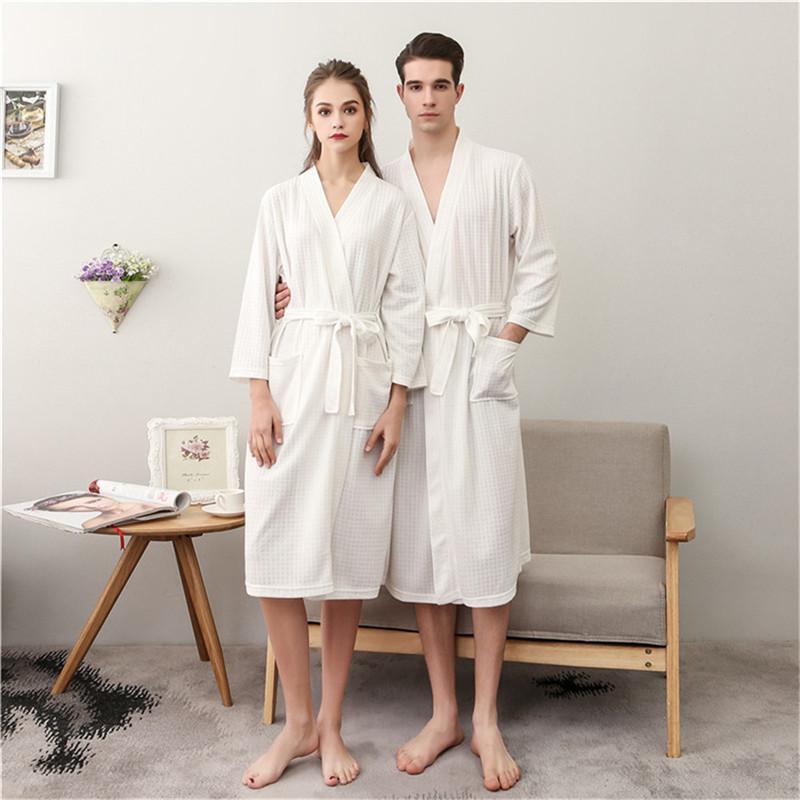3da9efb0f Compre Amantes Albornoz Kimono Novia Albornoz Sexy Waffle Damas Pijamas  Mens Batas Masculinas Ropa De Dormir Femme Camisón A  22.96 Del Ritalei