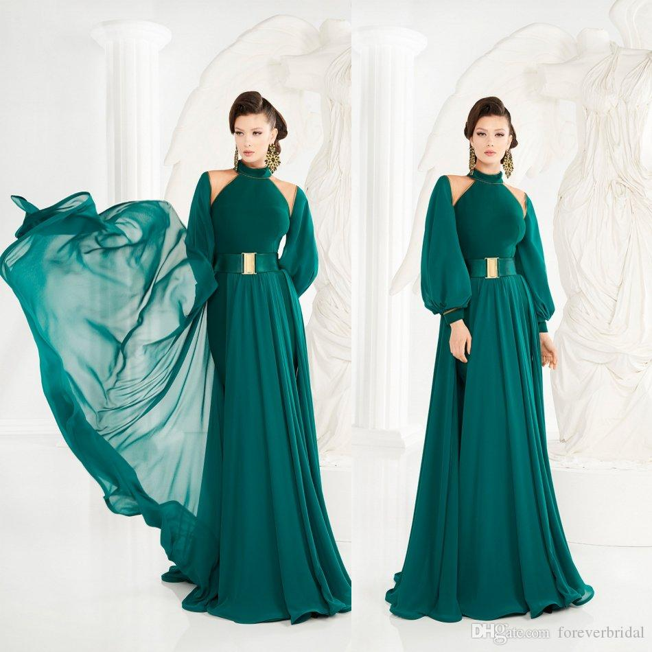 Green Prom Dresses 2019 Chiffon Elegant Halter Neck Evening Formal Dresses With Belt Ladies Party Gowns