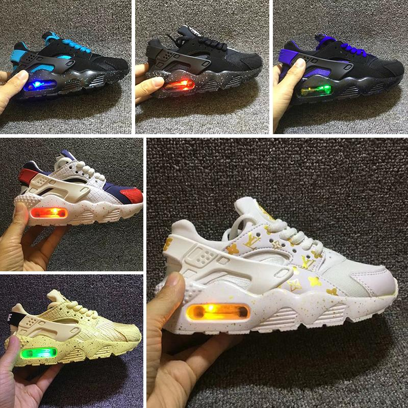 free shipping 1146f fb1e7 Flash Lighted Kids Air Huarache Run Shoes Children running shoes Infant  huaraches outdoor toddler athletic boy & girls sneaker
