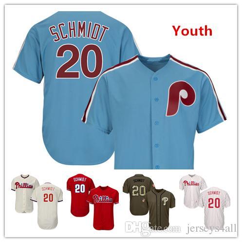 size 40 adb9f e861c Youth Kids Child Phillies Baseball Jerseys 20 Mike Schmidt New Jersey Light  Blue White Red Grey Gray Cream Green Salute