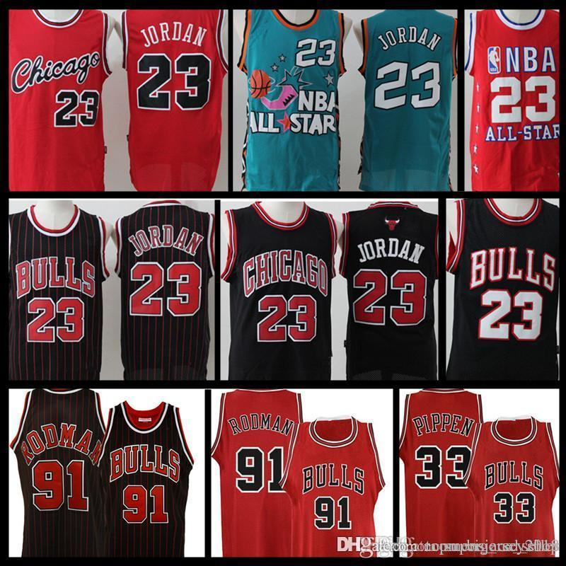 3af07771da05 2019 Retro Mesh AJ 23 Michael Bulls Jersey Men S Dennis 91 Rodman Scottie  33 Pippen Basketball Jerseys Black White Red Stitched Logos From  Topmensjersey2018 ...