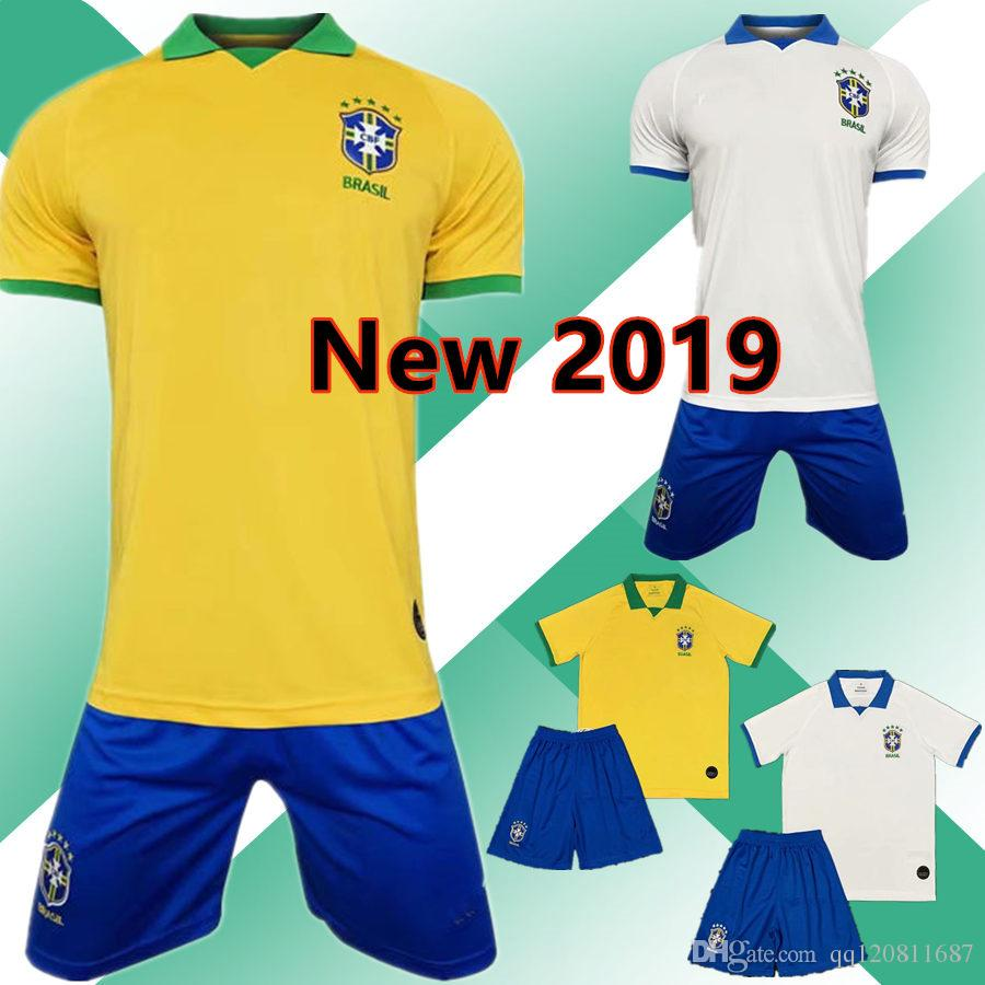 super popular f93db 1326e New Brasil home P.COUTINHO jersey kit 2019 Copa America G.JESUS MARCELO  Firmino D.COSTA Away White Soccer Jersey 2020 Football uniform