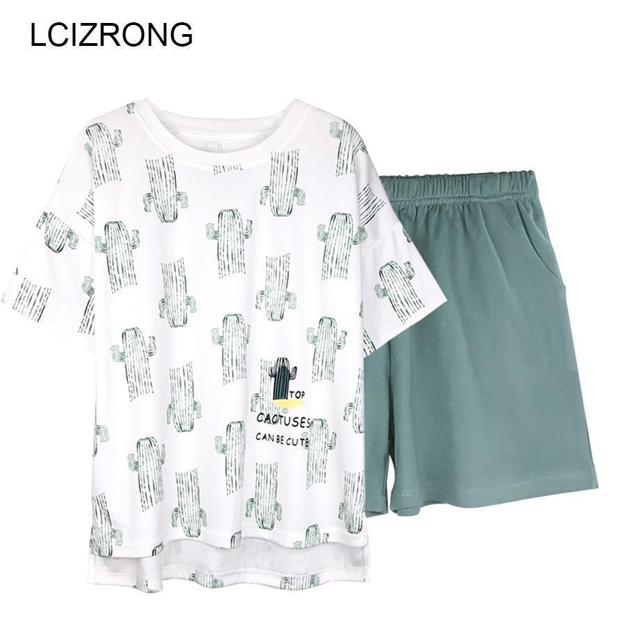 premium selection 57df9 3fb80 Sommer Niedlichen Tier Kaktus Print Coole Kurze Pyjamas Sets Top Frauen  Oansatz Bequeme Nachtwäsche Und Shorts Hochwertiges Nachthemd