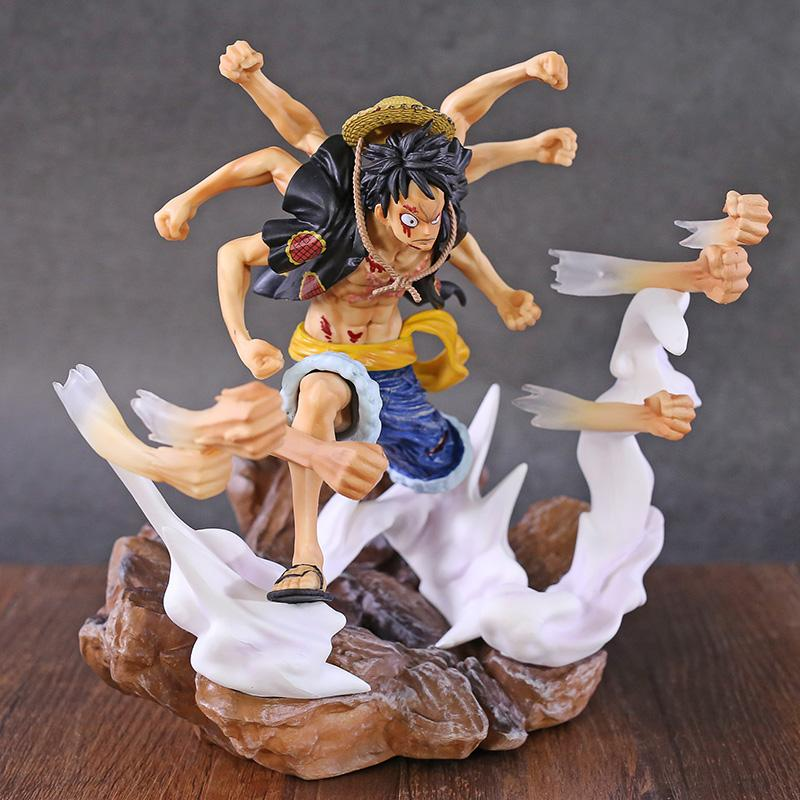 Anime One Piece Monkey D Luffy Gomu Gomu no Gatling Ver. Statua GK in PVC Figure da collezione Model Toy