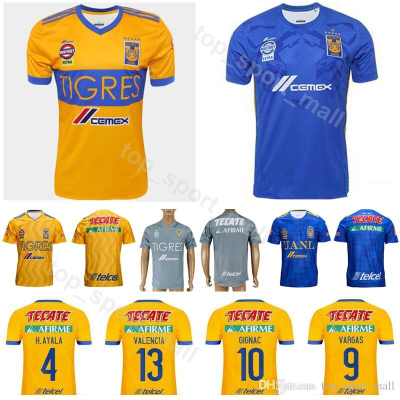 76c6dc29c 2019 18 19 Season Soccer FC Tigres UANL Jersey Men 9 VARGAS 10 GIGNAC 13  VALENCIA MEXICO Club LIGA MX Football Shirt Kits Uniform From  Top sport mall
