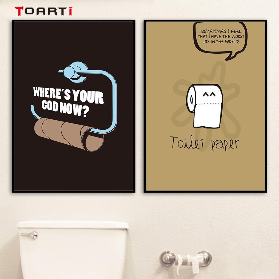 Großhandel Toilettenpapier Witze Leinwand Malerei Cartoon Wandkunst ...