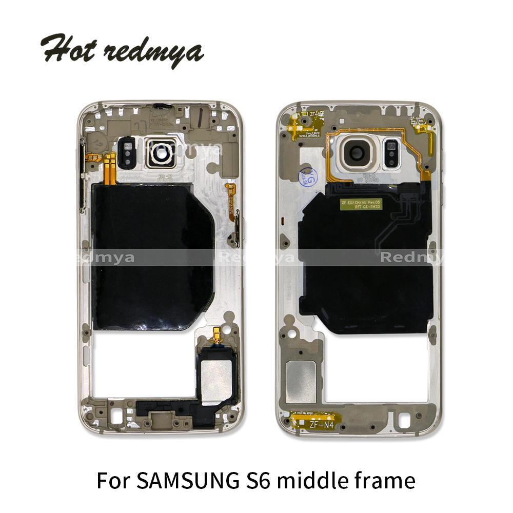 Middle Frame For Samsung Galaxy S6 G920 G920F Middle Mid Frame Bezel Rear Housing Chassis With Back Camera Glass Lens Cover