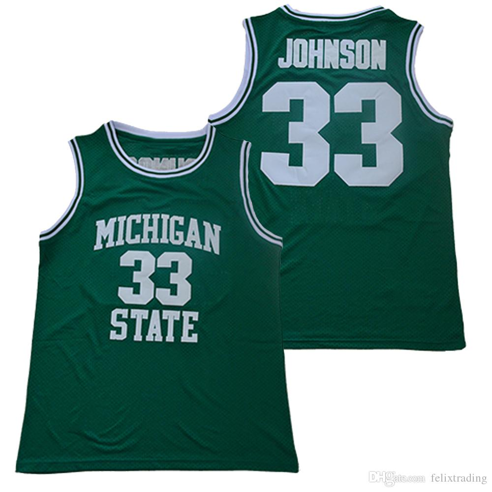 wholesale dealer c418d d6c85 33 Earvin Johnson Michigan State Jersey Cheap Magic Johnson College  Basketball Jerseys Men Green Free Shipping