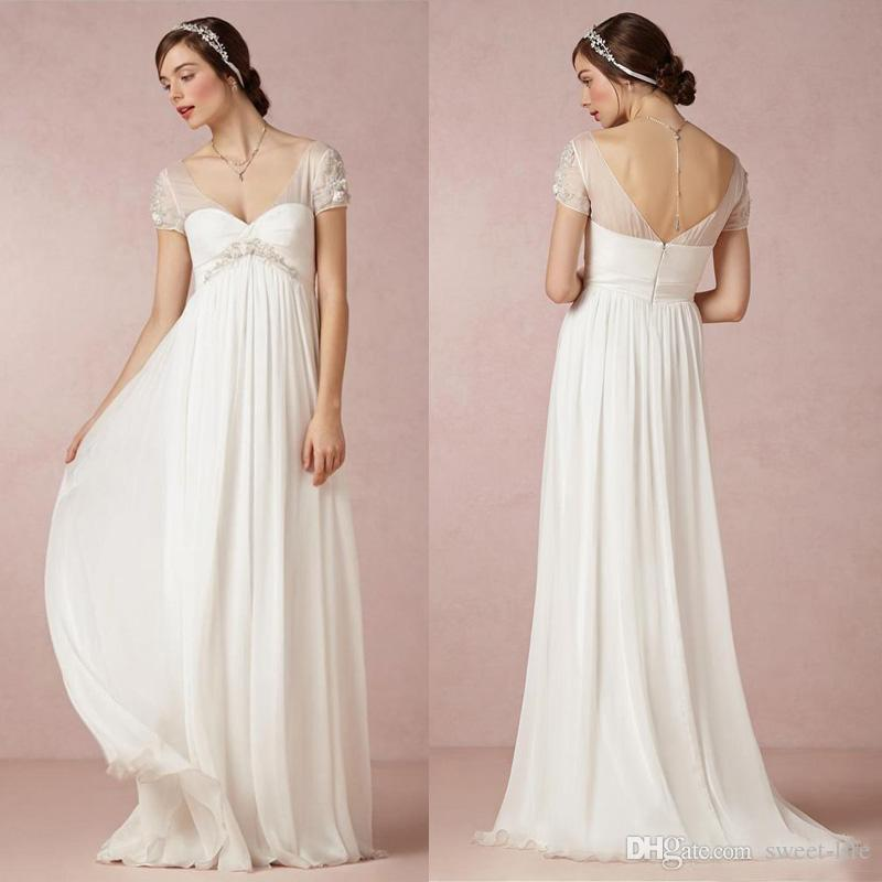 Chic 2019 Simple Chiffon Empire Maternity Wedding Dresses Beach Sexy Sheer Short Sleeves Backless Bridal Dress Custom Made Cheap Party Wear