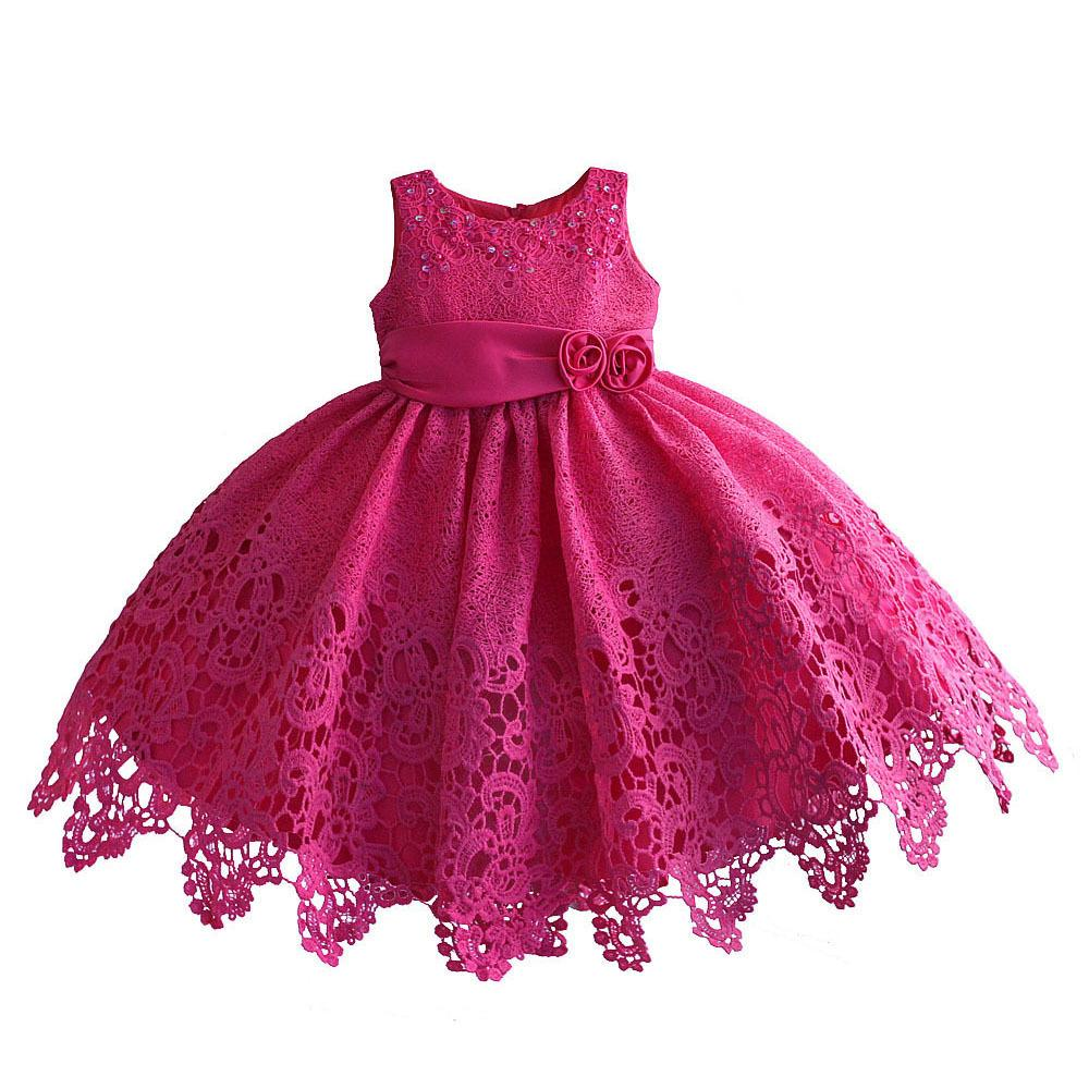 38d9642cc 2019 Hetiso Hollow Lace Girls Dress For Wedding Party Sequin Flower ...