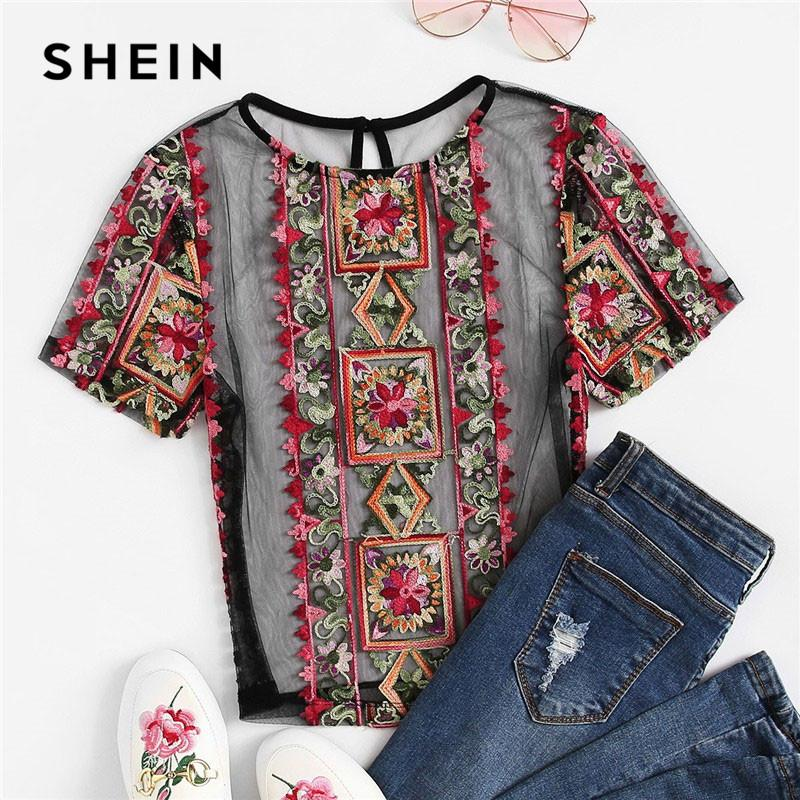 ca3d3e71b5 2019 SHEIN Flower Embroidered Sheer Crop Top Without Bra 2019 Women ...