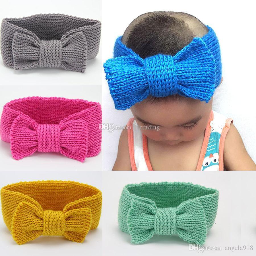 71ba5d6a3b0a Winter Warm Baby Turban Knitted Wool Headbands Fashion Crochet Big ...