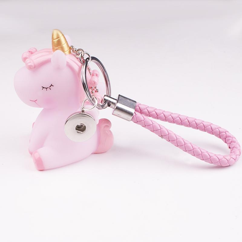 Cheap Key Chains Unicorn PINK BLUE Stich 18mm snap button Keyring Key chains DIY JEWELRY