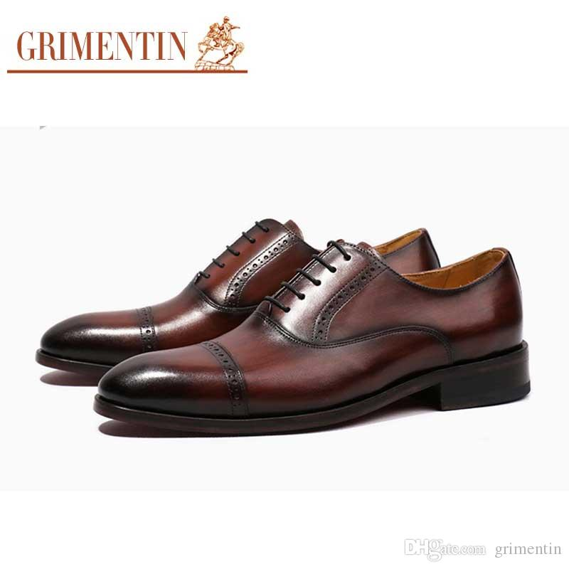 9cc6f33f1a378 GRIMENTIN Handmade Men Oxford Shoes Fashion Designer Mens Dress Shoes  Genuine Leather High Grade Customized Formal Business Male Shoes Y100 Mens  Dress Boots ...