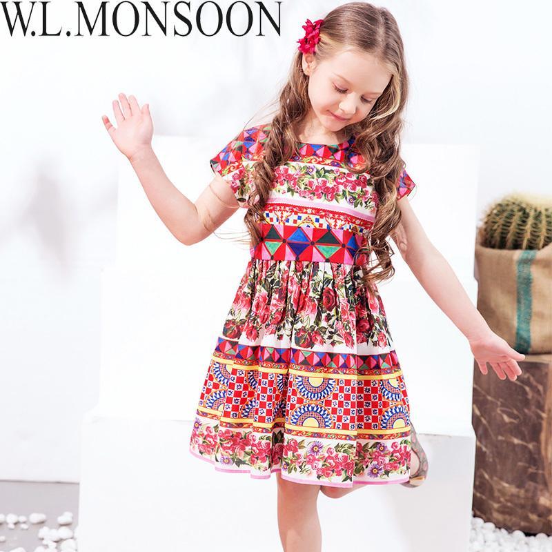 0eb4848c5 Compre W.LONSOON Princesa Meninas Vestido Com Caixilhos 2019 Marca Crianças  Vestido De Verão Flor Vestidos Crianças Vestidos Para Meninas Roupas De ...