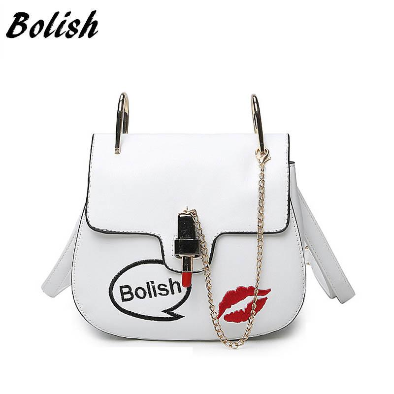 Bolish Brand Summer Casual PU Leather Women Shoulder Bag Fashion Lipstick Shape Lock Women Messenger Bag Small Chain Women Bag