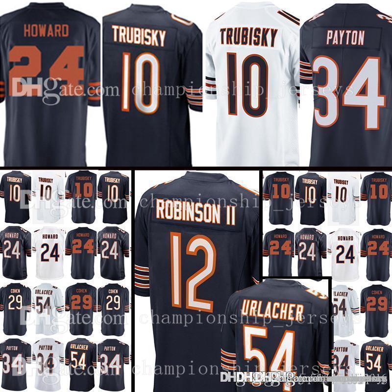 buy online 1647a bbe75 Chicago Bears #52 khalil Mack jersey Mens 10 Mitchell Trubisky 54 Brian  Urlacher 34 Walter Payton 24 Howard 29 Tarik Cohen Football Jerseys