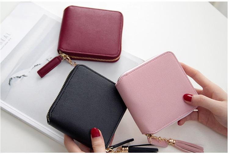 74bb188df4d LKX Short Tassels Zipper Wallet Small Square Female Wallet Women's Cute  Fashion Purse Soft Leather Zip Coin Card Holder