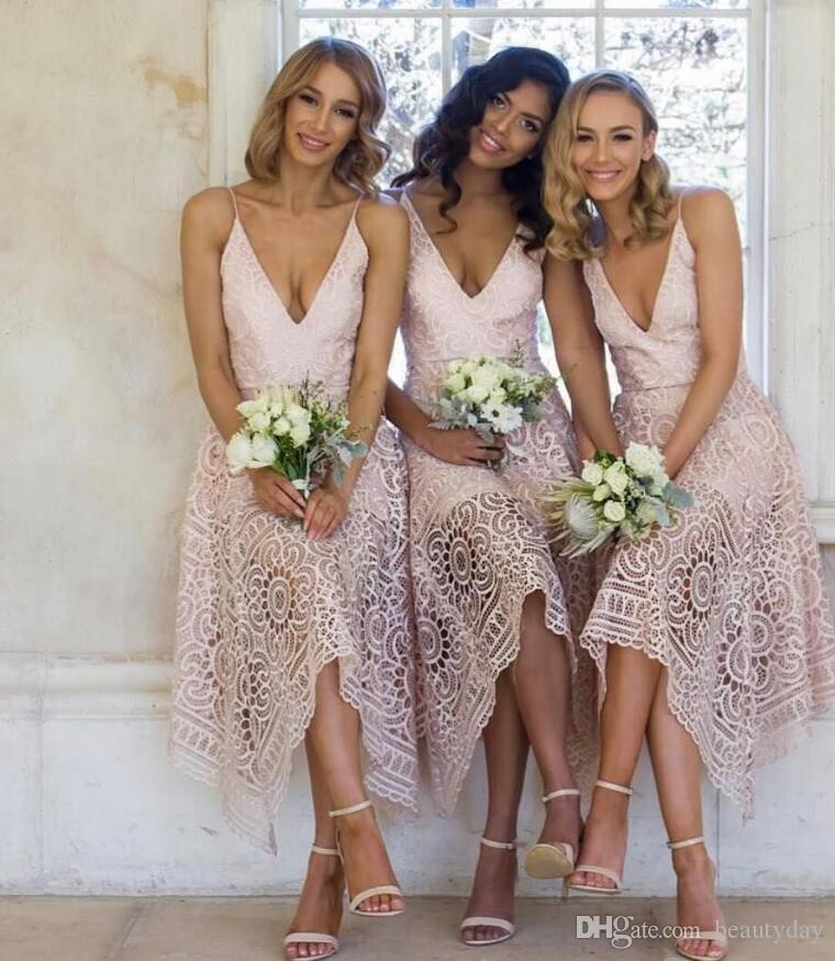 e18477b60 2019 New Bridesmaid Dresses Tea Length Pink Lace Irregular Hem Spaghetti  Straps Maid Of Honor Country Beach Wedding Party Guest Gowns Bridesmaid  Dresses ...