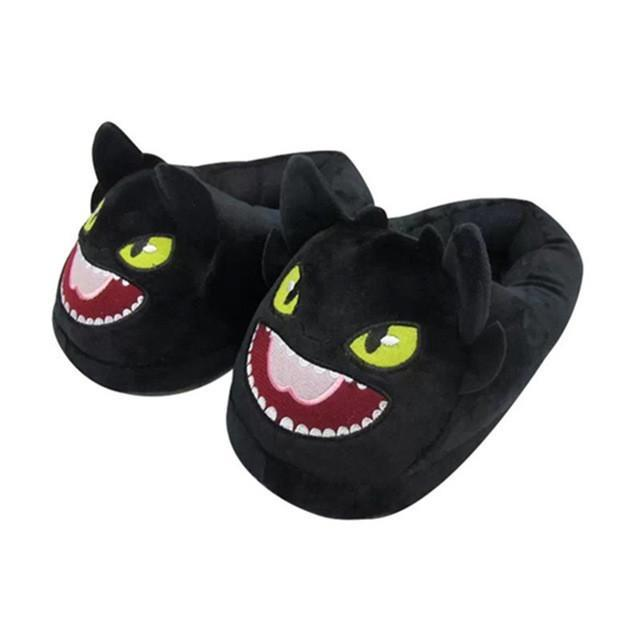 2pcs/pair Toothless Night Fury How To Train Your Dragon Indoor Slippers Plush Shoes Warm Winter Adult Slipper Home Shoes CCA11376 10pair