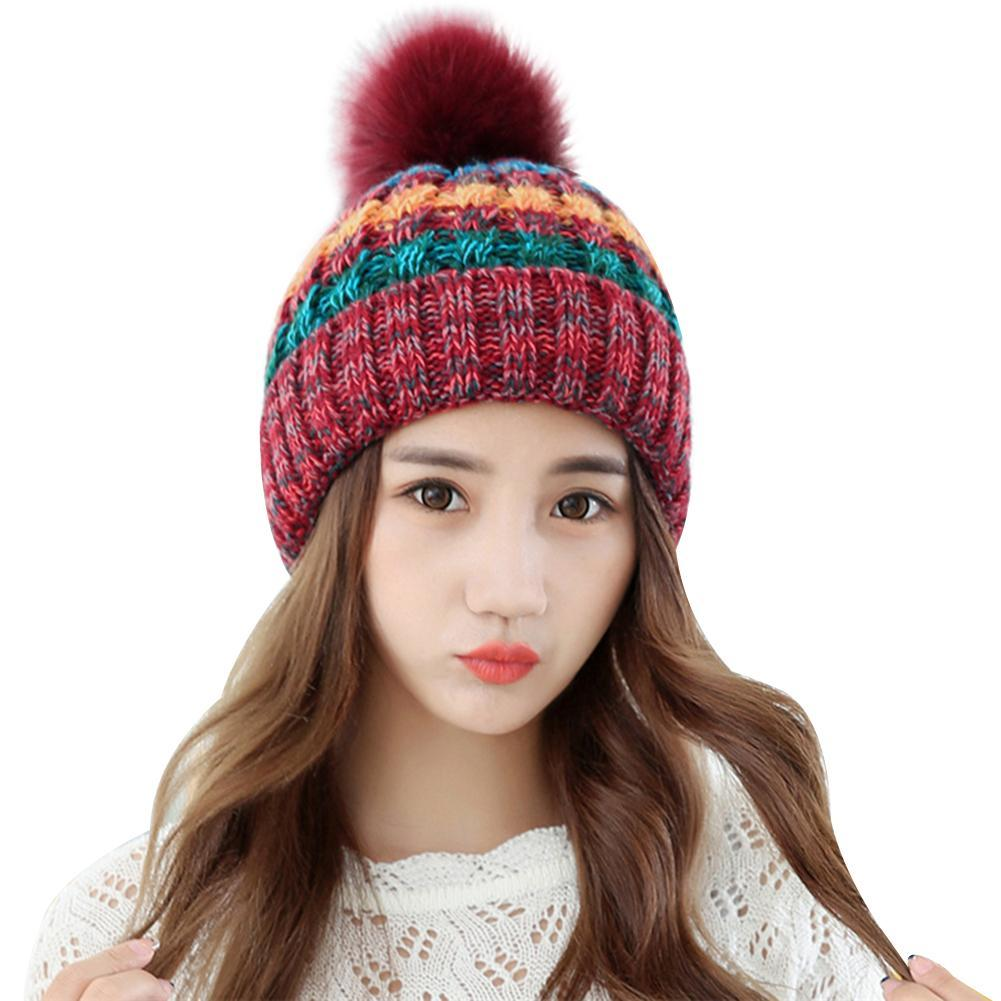 2e38c02e0fa Women Fashion Lovely Plush Ball Stripe Beanie Cap Soft Warm Autumn ...