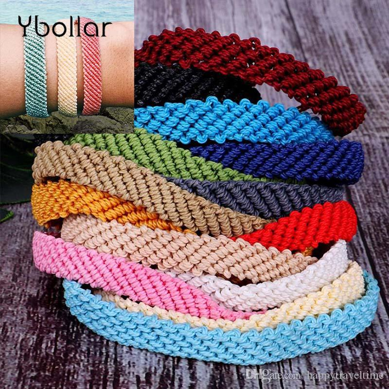 e59b49b55fa61 1pc Handmade Wax String Woven Friendship Bracelets Flat Braided Adjustable  For Women Girls Summer Surf Bracelet Bohemia Jewelry