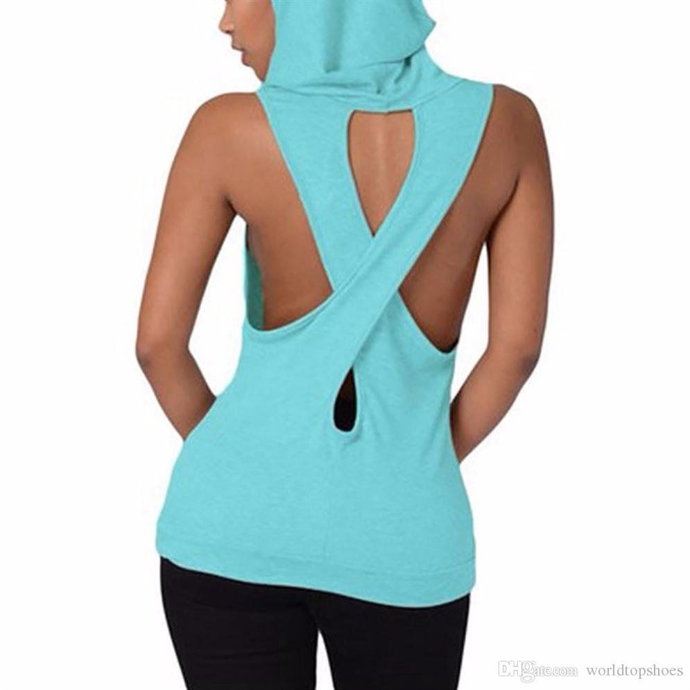 28f28ef38ef91 2019 Yoga Top Women Sleeveless Hooded Yoga Shirt Cross Fitness Workout  Blouse Running Hoody T Shirt Exercise Yoga Vest Tank Crop Top  249393 From  ...