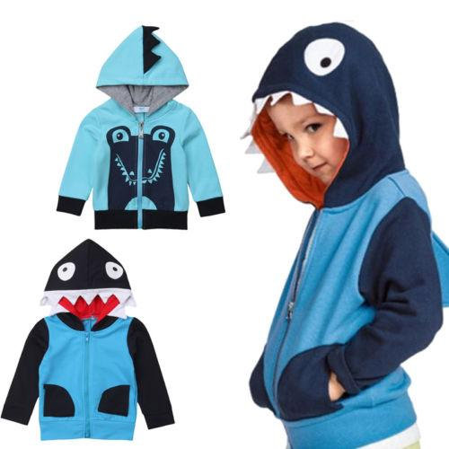 915d09be5743 Toddler Infant Boy Girl Autumn Sweatshirt 3D Shark Hoodies Kids ...