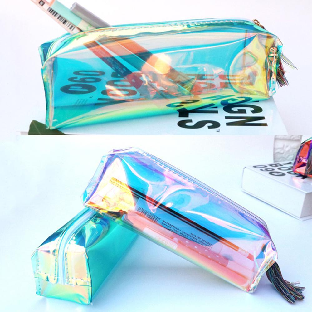 ip Pouch Waterproof Box Laser Pencil Bag Case Pen Storage Transparent Holographic Office Stationery Zip Pouch Waterproof Stationery Box ...