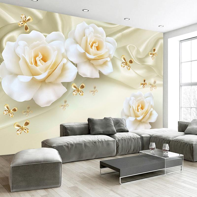Custom Any Size 3d Wall Painting Rose Flower Butterfly Silk Non