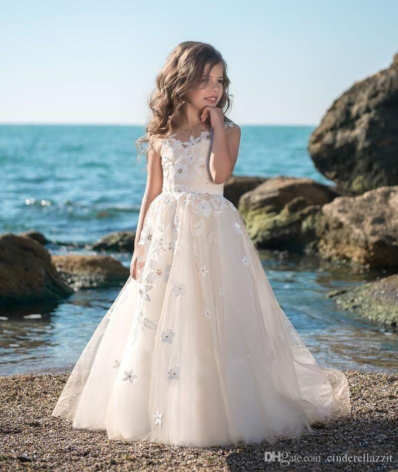 15f3fc0ba5e 2019 New Fairy Wedding Flower Girl Dresses Ball Gown Girl Piano Performance  Dress Floor Length Princess Girl Dresses Off White Flower Girl Dresses  Peach ...