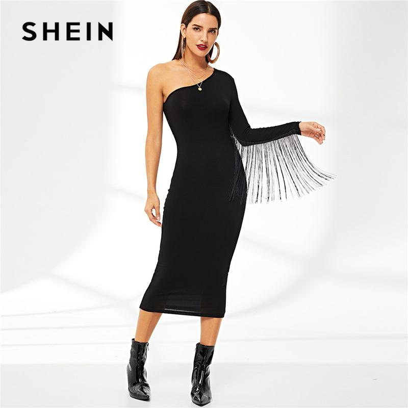 c2bd9eeca1 SHEIN Black One Shoulder Jersey Pencil Dress Sheath Knee Length Party Dress  Women Autumn Stretchy Plain Slim Pencil Dresses Black Dresses Long Dresses  From ...