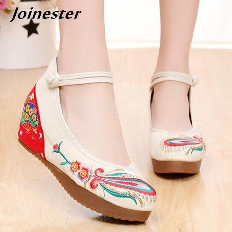 524f225fa7 Compre Designer De Vestido Sapatos Retro Floral Bordar Mulheres Casuais Sapatos  De Salto Alto Senhoras Noiva Noiva Canvas Pano Cunhas Plataforma Slides De  ...