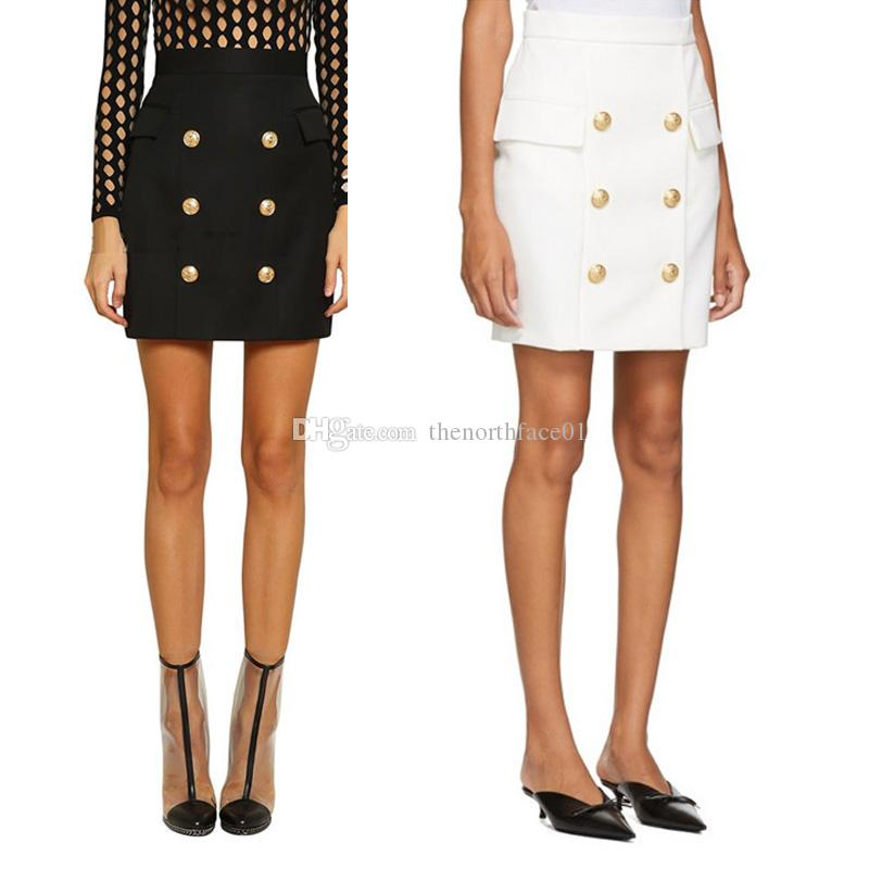 Balmain Women Clothes Skirts Balmain Womens Skirt Black White Sexy Package Hip Skirt Dress Size S-XXL