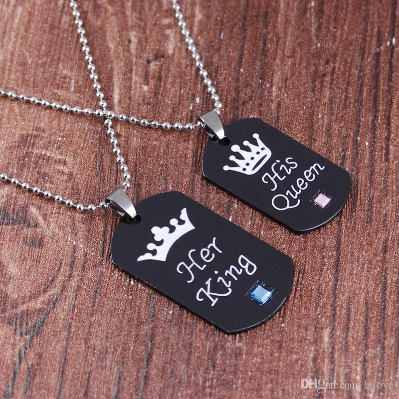 5d40bec28c Wholesale Lover Couple Necklaces & Pendants Keychains Her King His Queen  Black Crown Top Necklace Keychain Alloy Jewelry Lovers Gifts Wholesale  Jewelry Name ...