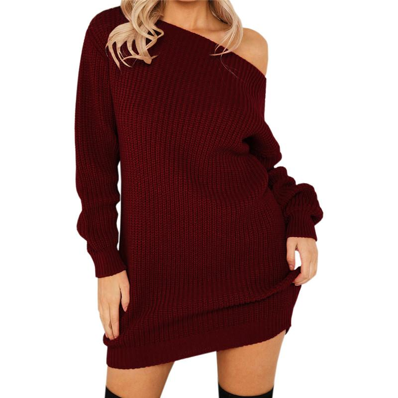 Women Dresses Slash Sexy Off Shoulder Knit Full Package Hip Green Bodycon Dress Autumn Club Fashion Brown Winter Party Dress