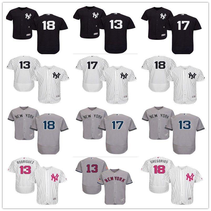 72781a9a34b 2019 2018 Custom Men'S Women Youth Majestic NY New York Yankees Jersey #17  Matt Holliday 18 Didi Gregorius 13 Alex Rodriguez Baseball Jerseys From ...