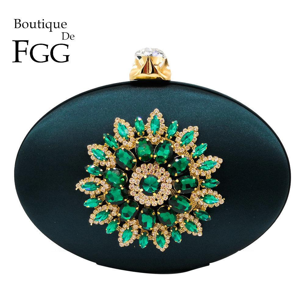 Boutique De Fgg Women's Fashion Flower Crystal Clutch Handbag And Purse Ladies Evening Bags Wedding Party Chain Shoulder Bag Y19061301