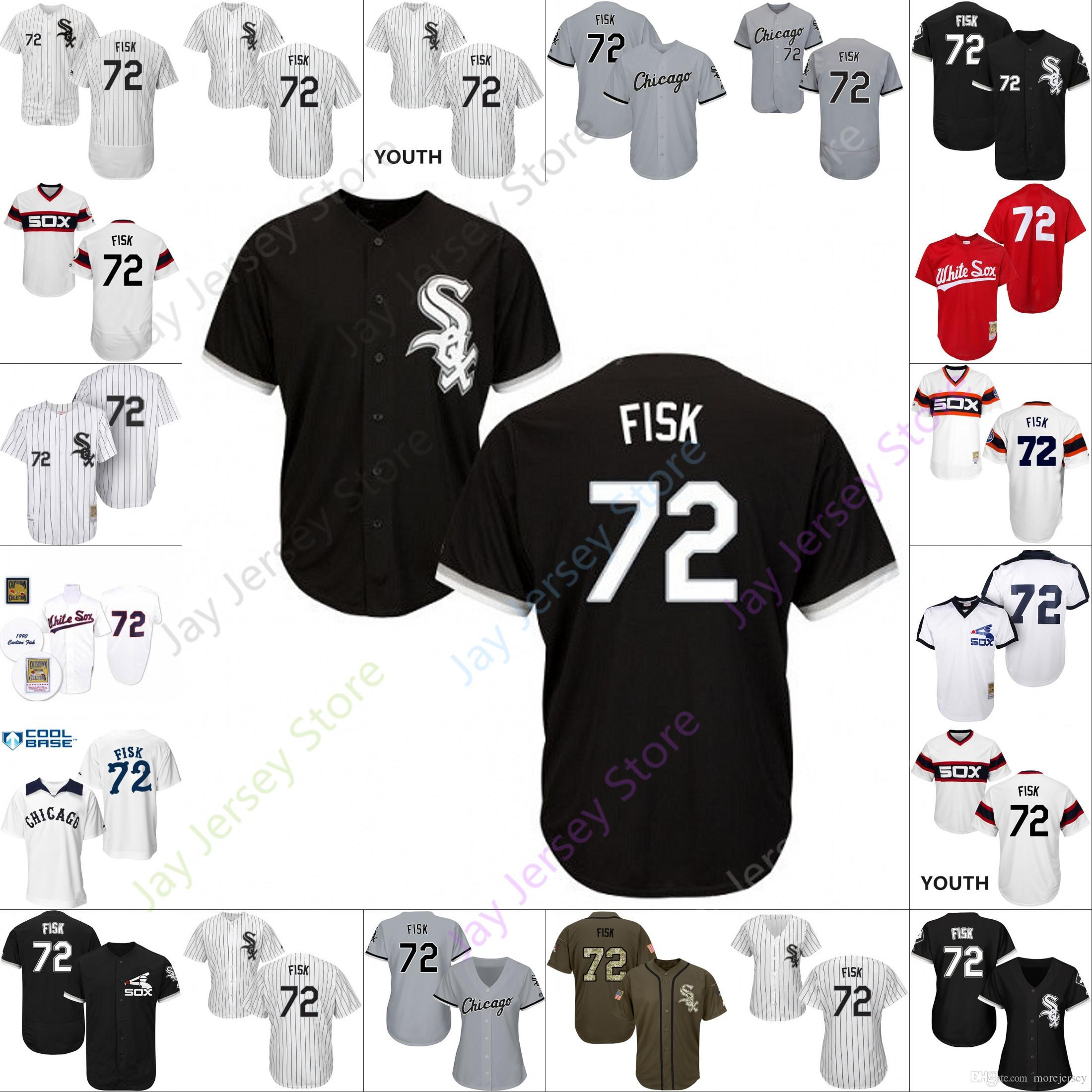 san francisco 81788 e2586 2019 Chicago 72 Carlton Fisk Jersey White Sox Jerseys Cool Base Flexbase  Home Away White Black Red Grey Pullover Button Men Women Youth