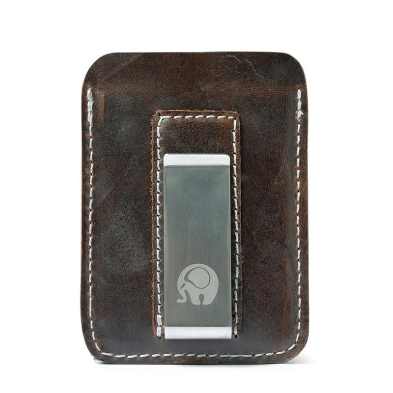 8ac6250d75112 Genuine Leather Money Clip Men Metallic Card Slim Bills Cash Clamp for  Money Thin Billfold Holder NEW Solid Brown Black Wallet