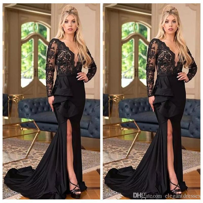 V-Neck Lace Long Sleeves Slim Mermaid Prom Dresses Split Sweep Train Long Special Occasion Party Gowns Evening Party Gowns