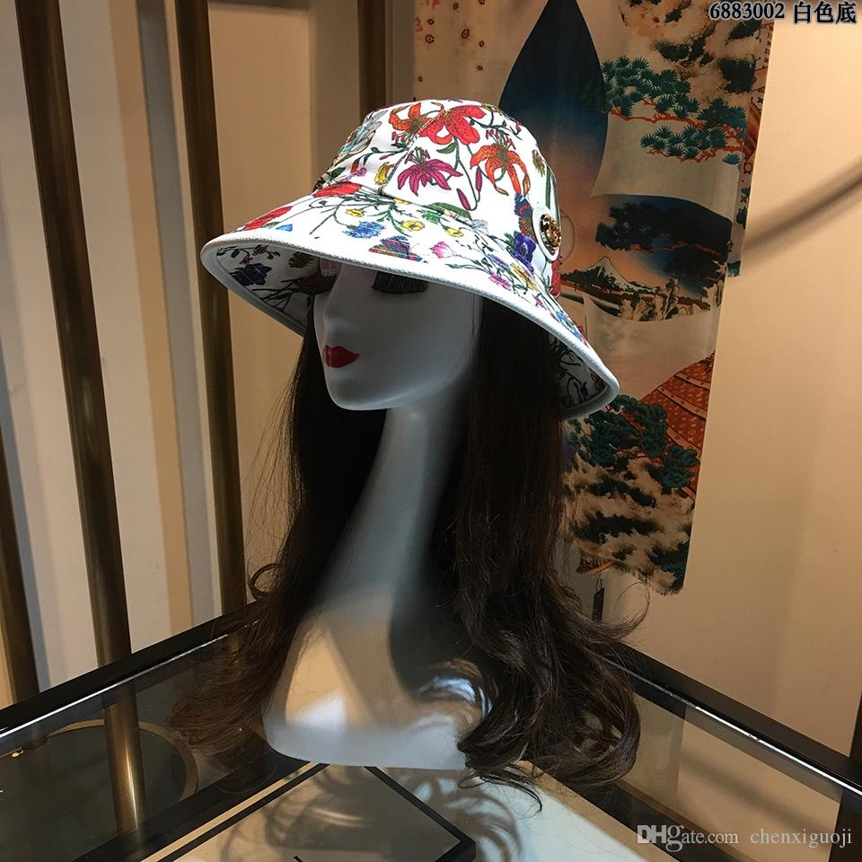G142, 95, New fisherman hat, sun hat,Flowers print, sunshade, sun protection,letter.